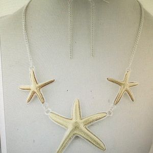 New Gold Starfish Preppy Lilly Necklace Set